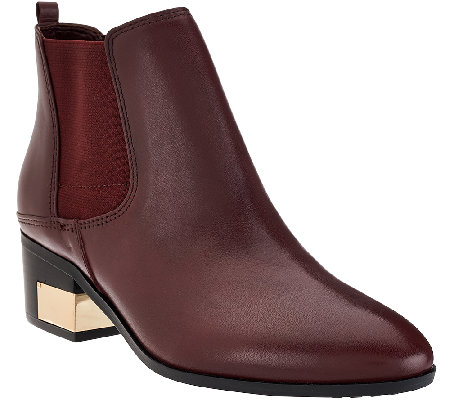 Marc Fisher Leather Stacked Heel Chelsea Boots - Danton