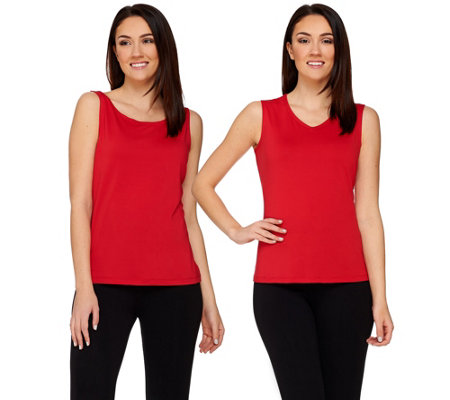 Susan Graver Essentials Butterknit Scoop & V-neck Set of 2 Tanks