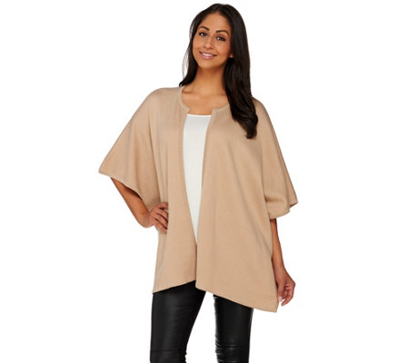 H by Halston Open Front Double Knit Tonal Poncho