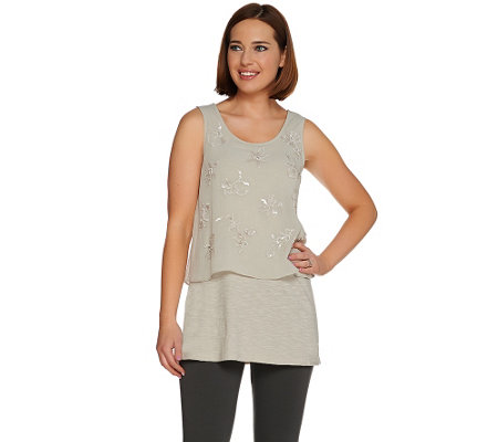 LOGO Lavish by Lori Goldstein Slub Knit Tank with Overlay Embellishment