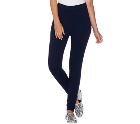Susan Graver Weekend French Terry Leggings with Zipper Trim
