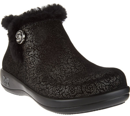 Alegria Water Resistant Leather Ankle Boots w/ Faux Fur - Meri
