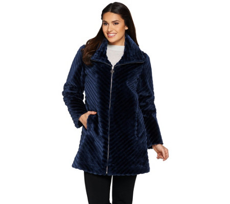 Dennis Basso Chevron Grooved Faux Fur Coat with Collar