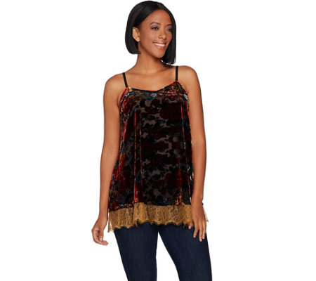 LOGO Lavish by Lori Goldstein Burnout Velvet Cami Tank with Lace