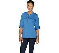 Belle by Kim Gravel TripleLuxe Long Sleeve Utility Shirt - A296593
