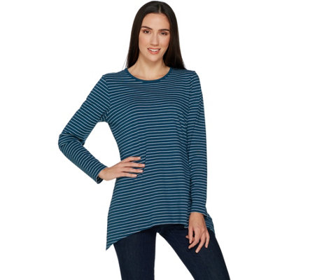 Denim & Co. Perfect Jersey Striped Long Sleeve Trapeze Hem Top