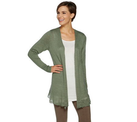 """As Is"" LOGO by Lori Goldstein Sweater Cardigan with Flounce at Hem"