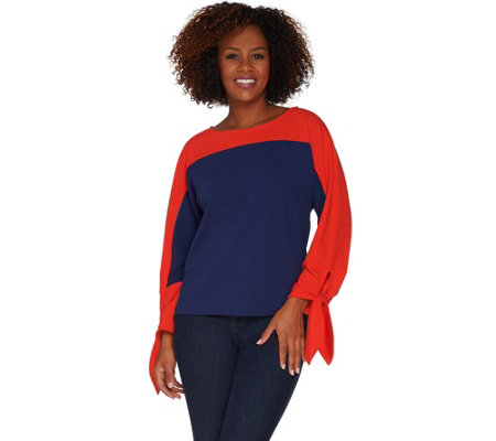 Du Jour Color-Blocked Dolman Sleeve Knit Top with Tie Cuff Detail