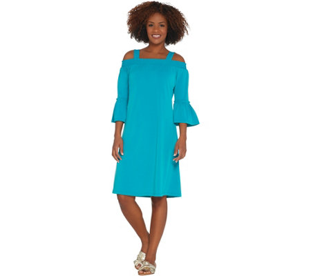 Susan Graver Liquid Knit Off-the- Shoulder Dress