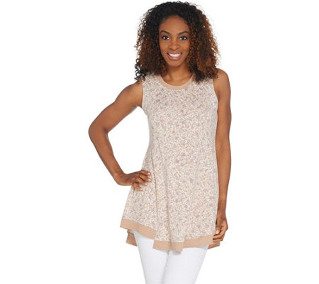 LOGO Lounge by Lori Goldstein French Terry Tank with Rib Details