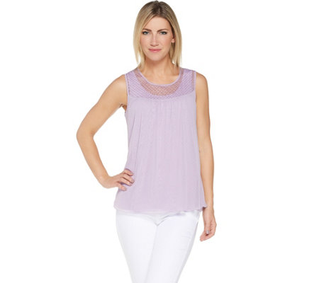 Laurie Felt Textured Eyelet Sleeveless Top with Tank Top