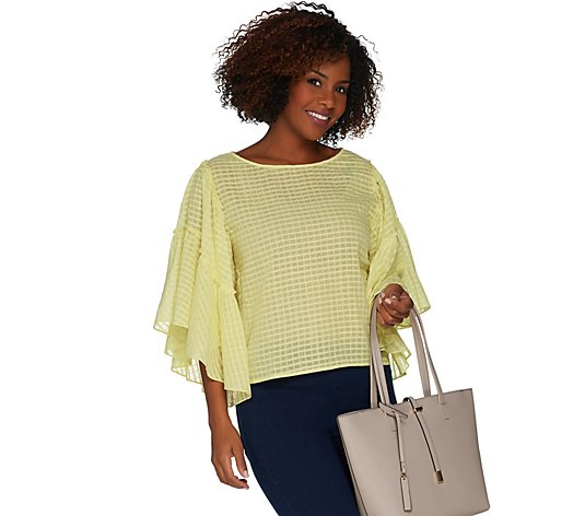 """As Is"" Vince Camuto Grid Drop Shoulder Ruffle Sleeve Sheer Blouse"