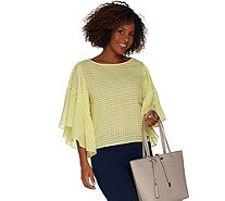 Vince Camuto Textured Grid Drop Shoulder Ruffle Sleeve Sheer Blouse - A306693