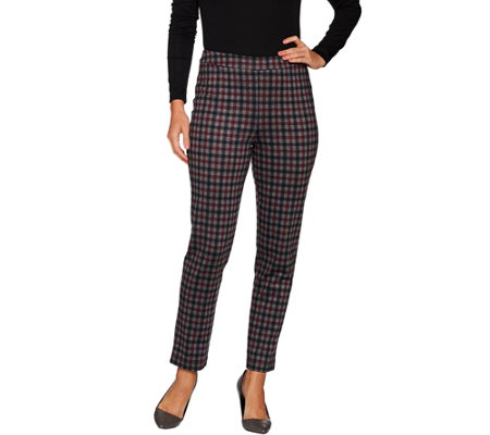 """As Is"" Joan Rivers Regular Length Plaid Pull-On Ankle Pants"