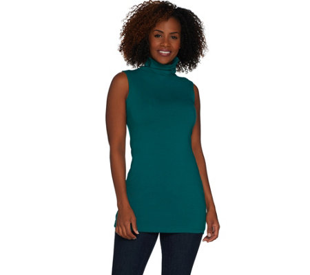 """As Is"" Women with Control Long and Lean Sleeveless Funnel Neck Top"