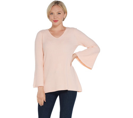H by Halston Ribbed V-Neck Bell Sleeve Pullover Sweater