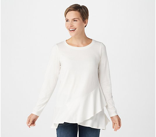 LOGO by Lori Goldstein Cotton Modal Top with Cross Ruffle Detail