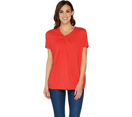 """As Is"" Martha Stewart Knit Twist Front Dolman Sleeve Top"