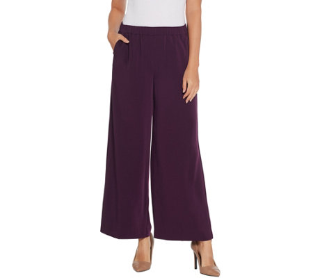 Susan Graver Petite Stretch Woven Pull On Wide