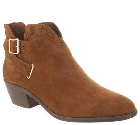Vince Camuto Suede Exposed Ankle Booties Panthea