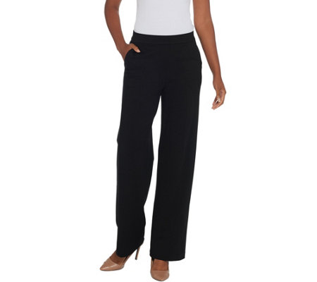 H By Halston Regular Ultra Knit Pull On Wide Leg Pants