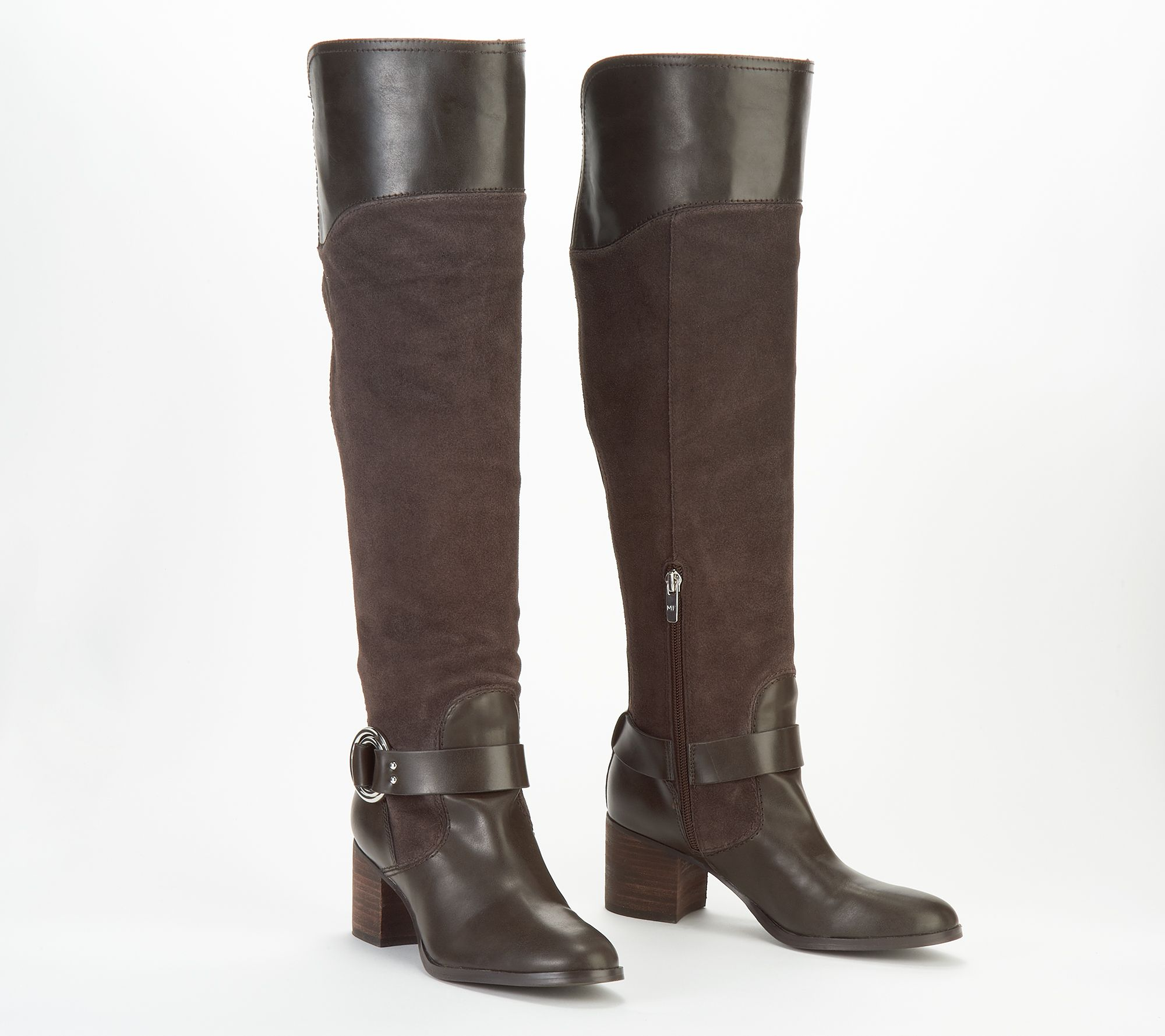 Marc Fisher Leather/Suede Wide Calf Over the Knee Boots ...