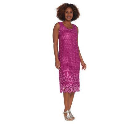 """As Is"" Isaac Mizrahi Live! Regular Bi-Color Lace Midi Dress"