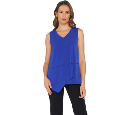 As Is Susan Graver Liquid Knit Sleeveless Tiered Top