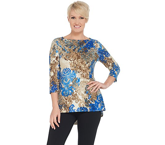 Susan Graver Printed Brushed Liquid Knit 3/4-Sleeve Top