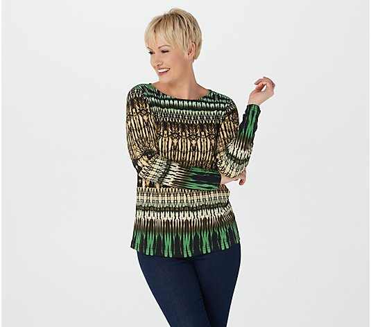 "Linea by Louis Dell'Olio ""Cathedral"" Print Knit Top"