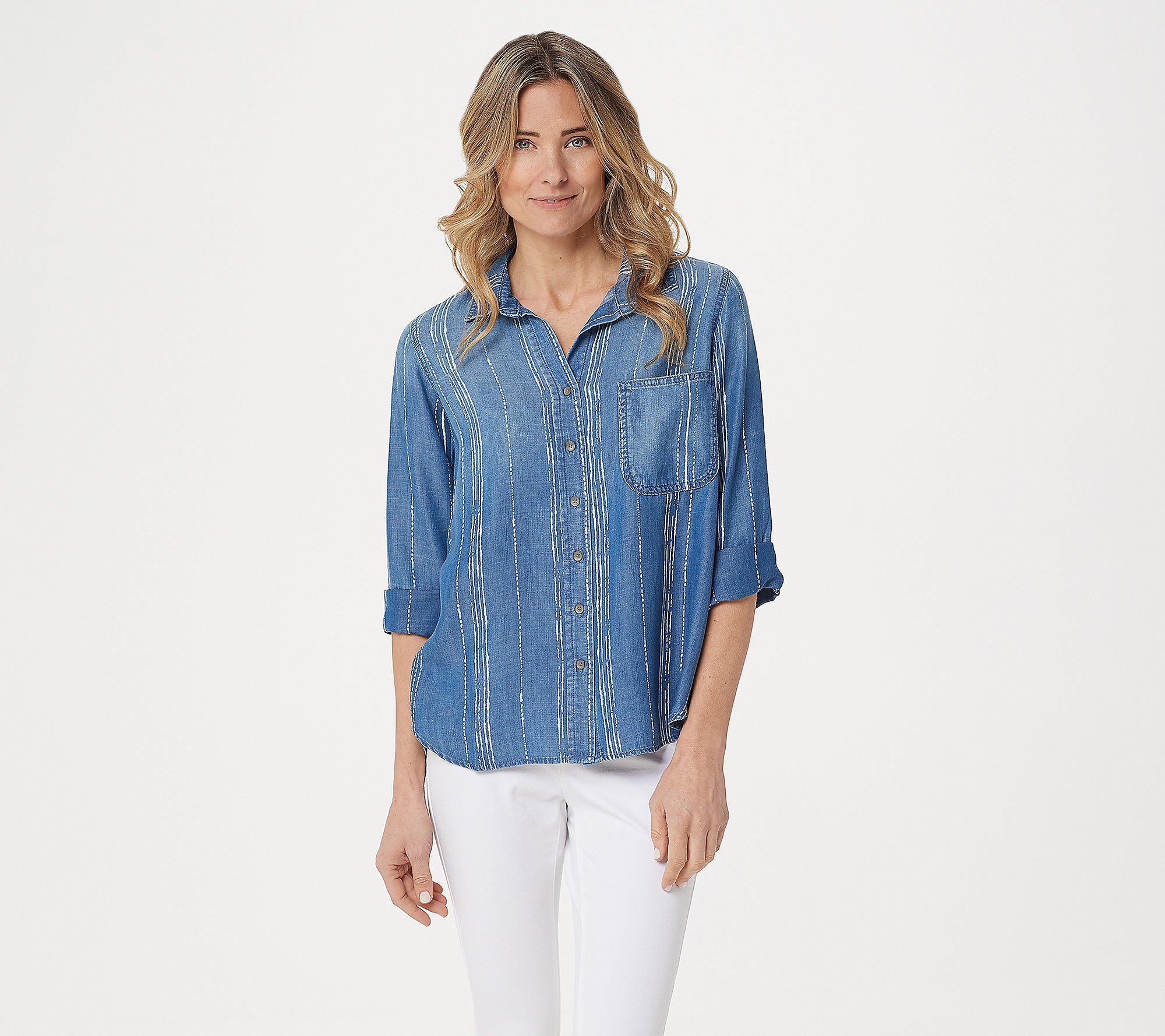 Side Stitch Tencera Printed 3 4 Sleeve Button Front Tunic Qvc Com