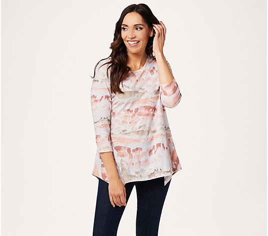 LOGO by Lori Goldstein Printed Cotton Slub Top with Side Flounce