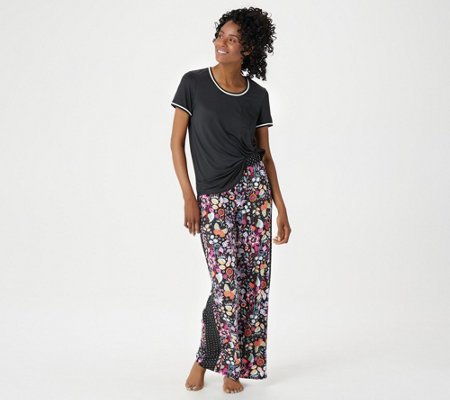 Cuddl Duds Tall Cool & Airy Color- Block Print Pajama Set