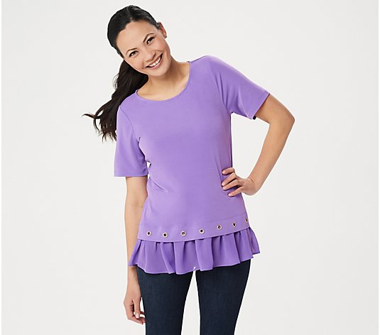 Susan Graver Liquid Knit Top with Sheer Chiffon and Grommets