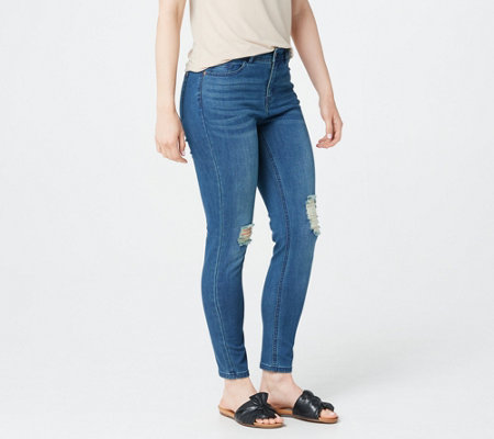 Lisa Rinna Collection Distressed Indigo Jeans