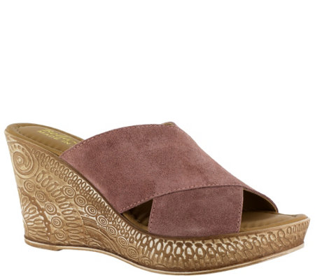 Bella Vita Leather Wedge Sandals - Edi-Italy