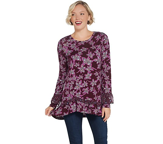 """As Is"" LOGO by Lori Goldstein Printed Knit Top with Chiffon Ruffle"