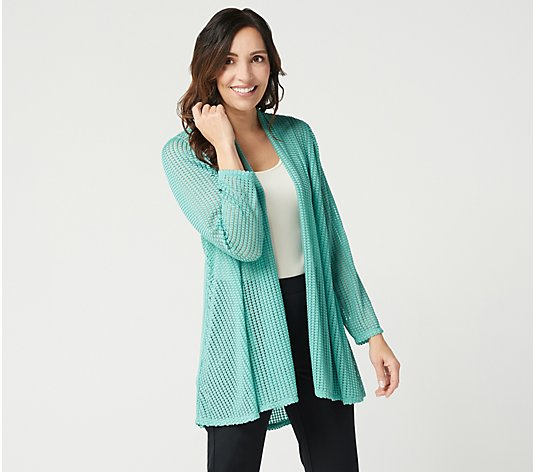 """As Is"" Susan Graver Novelty Knit Open Front Duster Cardigan"