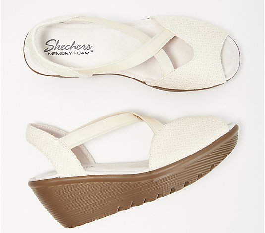 """As Is"" Skechers Peep-Toe Sling Back Wedges - Parallel"