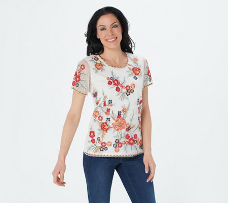 Tolani Collection Mesh Embroidered Top