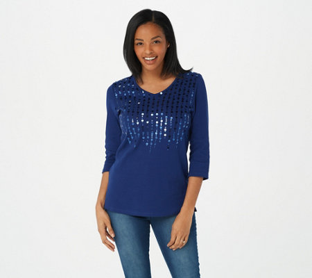 Quacker Factory Ribbed Sequin Paillette Top