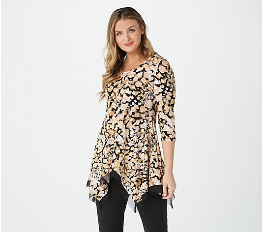 Attitudes by Renee Printed Hi-Low Hem Mesh Trim Tunic