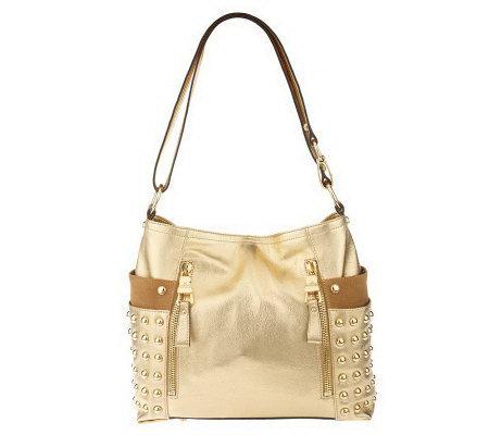 4f3f989b15d3 B. Makowsky Glove Leather Convertible Shoulder Bag w Stud Accents ...
