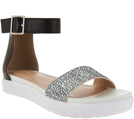 LOGO by Lori Goldstein Leather Ankle Strap Footbed Sandals
