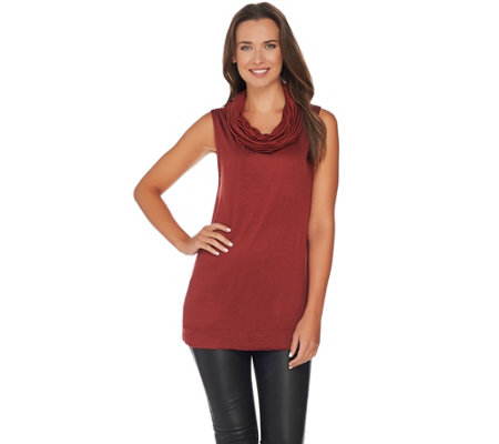 Lisa Rinna Collection Sleeveless Cowl Neck Knit Top