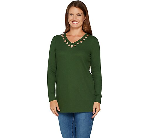 Quacker Factory Long Sleeve Waffle Knit Rose Gold Grommet Tunic