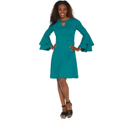 Isaac Mizrahi Live! Pebble Knit Keyhole Dress with Ruffle Sleeves