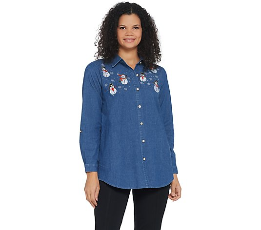 Quacker Factory Button Front Denim Tunic with Holiday Motif