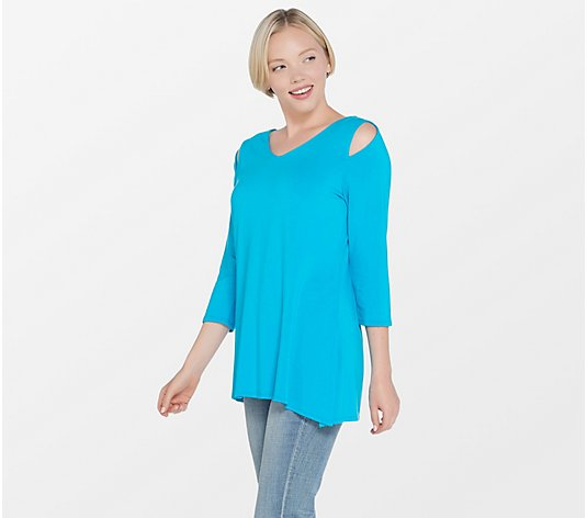 """As Is"" Belle by Kim Gravel Knit Top with Asymmetrical Hem"