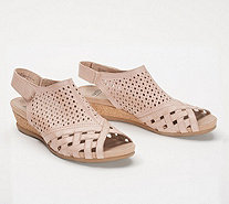 Earth Leather Perforated Wedge Sandals- Pisa Galli - A346894